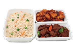 Chinese Rice With Chicken Kung Pao & Beef Steak