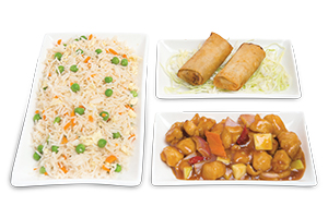 Chinese Rice With Chicken Kung Pao & Sprilg Roll