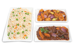 Chinese Rice With Shrimp Kung Pao & Beef Steak